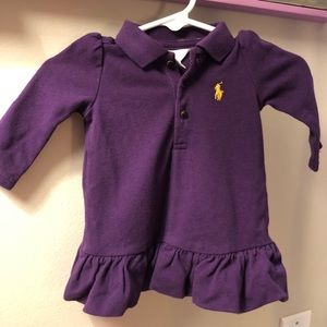 Baby Girl 3M Ralph Lauren Piqué Polo Dress Purple